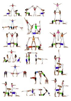There are a lot of yoga poses and you might wonder if some are still exercised and applied. Yoga poses function and perform differently. Each pose is designed to develop one's flexibility and strength. Gymnastics Stunts, Acrobatic Gymnastics, Cheer Stunts, Cheerleading, Gymnastics Routines, Group Yoga Poses, Acro Yoga Poses, Partner Yoga, Yoga Girls