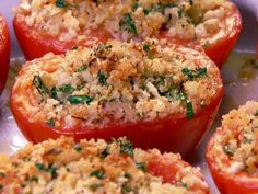Baked Tomatoes Recipe : Patrick and Gina Neely : Recipes : Food Network Roma Tomato Recipes, Baked Tomato Recipes, Vegetable Recipes, Stuffed Tomato Recipes, Tomato Dishes, Veggie Dishes, Pasta Dishes, Food Dishes, Food Network Recipes