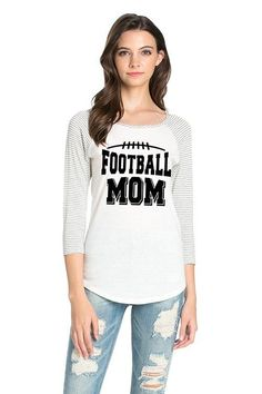 Football Mom - Slim Fit Heather Gray / White Striped Sleeves