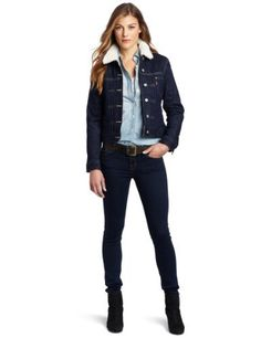 Levi's Women's Fully Lined Sherpa Jacket, Dark Indigo, X-Small Levi's. $45.03. Made in Indonesia. Front pockets. Machine Wash. 99% Cotton/1% Spandex. Fully lined