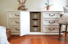 9 Drawer Basset Dresser with Burlap and Aqua by ThePapayaTree, $575.00