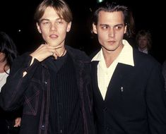 """Leonardo DiCaprio (19 yrs) and Johnny Depp at the Los Angeles premiere of """"What's Eating Gilbert Grape"""" on Dec. 12, 1993"""