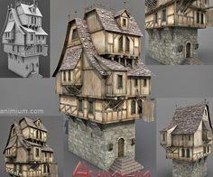 Medieval Tavern or Stone house 3d model. Highly detailed mid-poly 3d model with high resolution textures. Textures