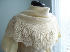 Garter Leaves shawl by Christina Wall. Love the intricate edging balanced with the simple garter stitch