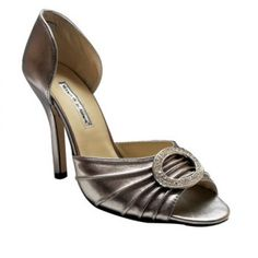 Manolo Blahnik Jeweled Satin dOrsay grey is also chic by the ruffle with jewel at the vamp,cutout at the middle,which is so special and elegance.