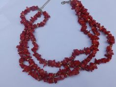 Multi Strand  Red Coral Gold Tone  Bead  by TheJewelryCabinet, $39.99