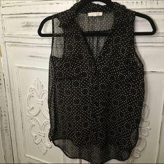 Lush Sheer Sleeveless Top Black and brown polka dot shirt. Great for layering. Wonderful for spring and summer Lush Tops Tank Tops