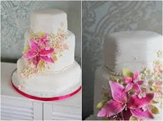 Image result for wedding cakes with stargazer lilies