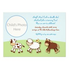 Farm Animals Barnyard Photo Birthday Invitations