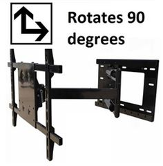 """Worth seeing , 34 inch extension with 90 degrees portrait/landscape rotation this  single arm wall mount fits 32"""" - 50"""" flat screen TVs. Other features include swivel left right 180 degrees, 15 degree adjustable tilt downward to reduce overhead glare, two piece wall plate with 12inches of left right adjustment., mounts to studs 16inch on centers. $349.99 Product Code: WMW-DUALSTUD-33-ROTATE"""