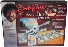 Bob Ross Class-in-a-Box Paint Set Painting Crafts division of Hofcraft The Painters Source Paint Supplies, Arts And Crafts Supplies, Bob Ross Landscape, Happy Paintings, Oil Paintings, What About Bob, Happy Little Trees, Pastel Sky, Painted Boxes