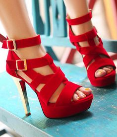 Peep Toe Buckles High Stiletto Heel Sandal