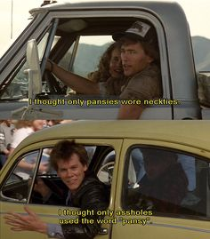 """footloose quotes,Footloose Director: Herbert Ross,Stars: Kevin Bacon, Lori Singer, John Lithgow Do you want to kiss me? Chuck: I thought only pansies wore neckties. Ren: See that? I thought only assholes used the word """"pansy"""". Footloose Quotes, Footloose Movie, 80s Movie Quotes, Tv Quotes, Edgy Quotes, Quotable Quotes, Love Movie, I Movie, 1980s"""