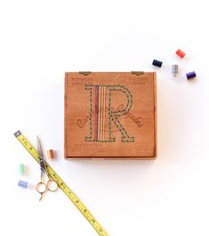 Not your standard sewing project — an embroidered cigar box for tiny treasures. #DIY