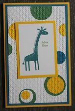 3D Karte Stanzteile Grußkarte Stampin up Kinder Geburtstag Giraffe gelb petrol
