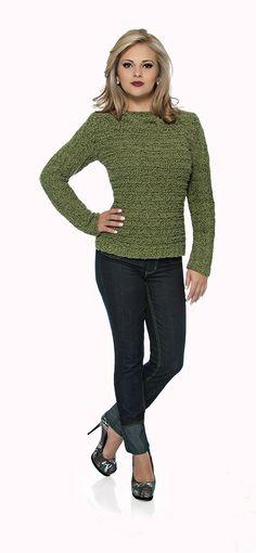 #Blusa verde decote canoa - Cisne Shadow #receita #tricô #Moda #Inverno #CoatsCorrente