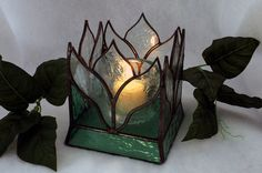 Candle Holder Stained Glass G1294 by SierraCreations on Etsy