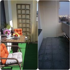 Left - balcony before, right - after