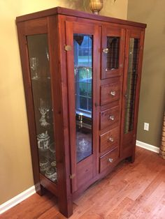 My Parentsu0027 Antique Chifforobe That I Repurposed Into A China Cabinet.  Stripped U0026 Refinished The Wood; Stained The Inside Dark; Removed Mirrors U0026  Side ...