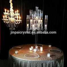 factory directly hurricane sale 9 arms beaded glass wedding candelabras on sale from China