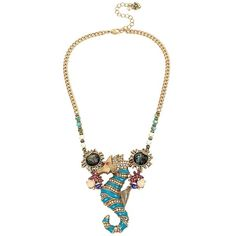 Betsey Johnson And The Sea Seahorse Necklace ($75) ❤ liked on Polyvore featuring jewelry, necklaces, green, charm necklace, bead necklace, lobster clasp charms, green bead necklace and multi colored bead necklace