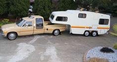 Vintage Chic Weekender: 1981 Toyota Dually & Camper - http://barnfinds.com/vintage-chic-camper-1981-toyota-dually-camper/
