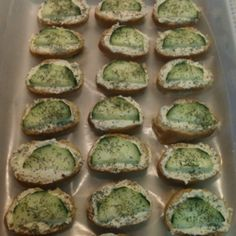 Baguettes + (cream cheese + dry Italian dressing) + cucumber + dill = great light finger food