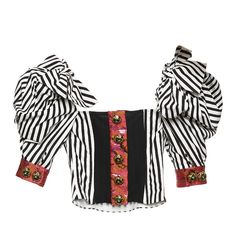 Cropped Puff Sleeve Top   Moda Operandi ($2,500) ❤ liked on Polyvore featuring tops, jacquard top, white tops, white crop tops, cropped tops and puff shoulder top
