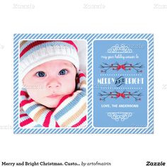 Merry & Bright Christmas to you. Fun and festive Custom Christmas Photo Cards with personalized photo and family name. Matching cards, postage stamps and other products available in the Christmas & New Year Category of the artofmairin store at zazzle.com