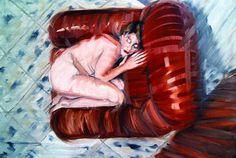 """Marco Esposito """" In poltrona """"  olio su tela cm 80 x 120, 1994"""