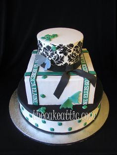 Emeralds and damask buttercream cake based on party decorations. By thecakeattic.com in Salisbury, NC www.facebook.com/thecakeattic