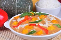 Pumpkin in a savory panang curry.