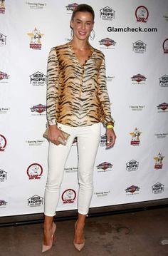 Tiger Print Shirt worn with White Denims