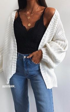 3ac09a1db58  fall  outfits knitted white cardigan. Cute Outfits With Jeans