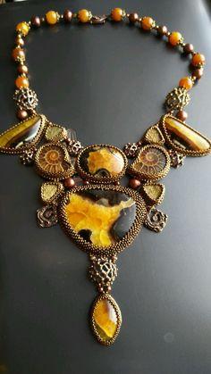 """Купить Колье """"Осколки прошлого"""" - украшения ручной работы, украшения из бисера, украшения с камнями"""