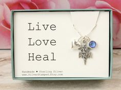 Gift for Nurse necklace Sterling silver RN charm by SilverStamped