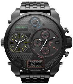 NEW DIESEL BLACK STAINLESS STEEL CHRONOGRAPH OVERSIZE MENS WATCH DZ7266 #Diesel #Casual