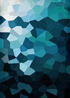 Blue Crystal Geometric Art Print
