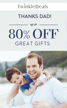At Twinkle Deals, they are offering 80% discount on Great Gifts Thanks Dad. For more Twinkle Deals Coupon Codes visit: http://www.couponcutcode.com/stores/twinkledeals/