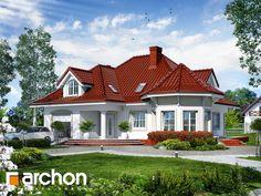 projekt Dom pod juką widok 1 Bungalow Style House, Bungalow House Plans, Bedroom House Plans, Small House Plans, House Front Design, Small House Design, Dream Home Design, Modern House Design, Village House Design