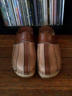 b014a8e3bd Vintage 1970s Womens BASTAD Leather Swedish Wooden CLOGS Shoes Wooden Shoe