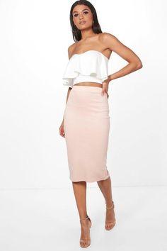 boohoo Amy Contrast Frill Bandeau & Midi Skirt Co-Ord Set