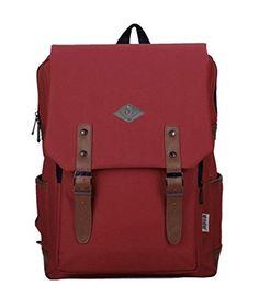3376a4d52fa8 Fansela(TM) Unisex Rectangle Travel Cotton School Bag College Laptop  Daypack Red