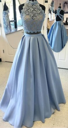 Two Piece Prom Dresses, Blue Prom Dresses, Lace Prom Dresses, Halter Prom Dresses, Prom Dresses Blue, Blue Lace Prom dresses, Prom Dresses Lace, Two Piece Dresses, Blue Lace dresses, Zipper Evening Dresses, Sleeveless Prom Dresses