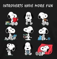 Introverts have more fun Snoopy Mug, Snoopy Cartoon, Snoopy Shirt, Snoopy Comics, Peanuts Cartoon, Snoopy Love, Snoopy And Woodstock, Peanuts Snoopy, Snoopy Images