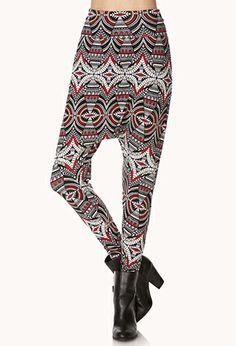 Mirrored Tribal Print Harem Pants   FOREVER21 - 2000109806