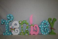 Nursery letters My baby Sam pixie bedding aqua bedding inspired. $78.95, via Etsy.