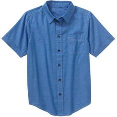 Wrangler Boys' Short Sleeve Woven Striped Shirt, Size: 18, Blue