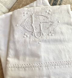 Stately: vintage French linen sheets with opulent monogram Stephanie Brown, Linen Sheets, Table Linens, French Vintage, Shabby Chic, Old Things, Stripes, Etsy, Fabric