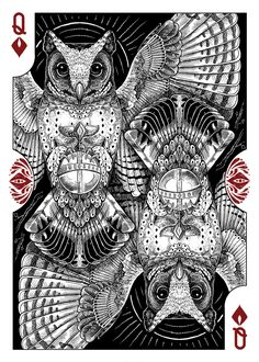 Strigiformes Owls Playing Cards par Renee LeCompte
